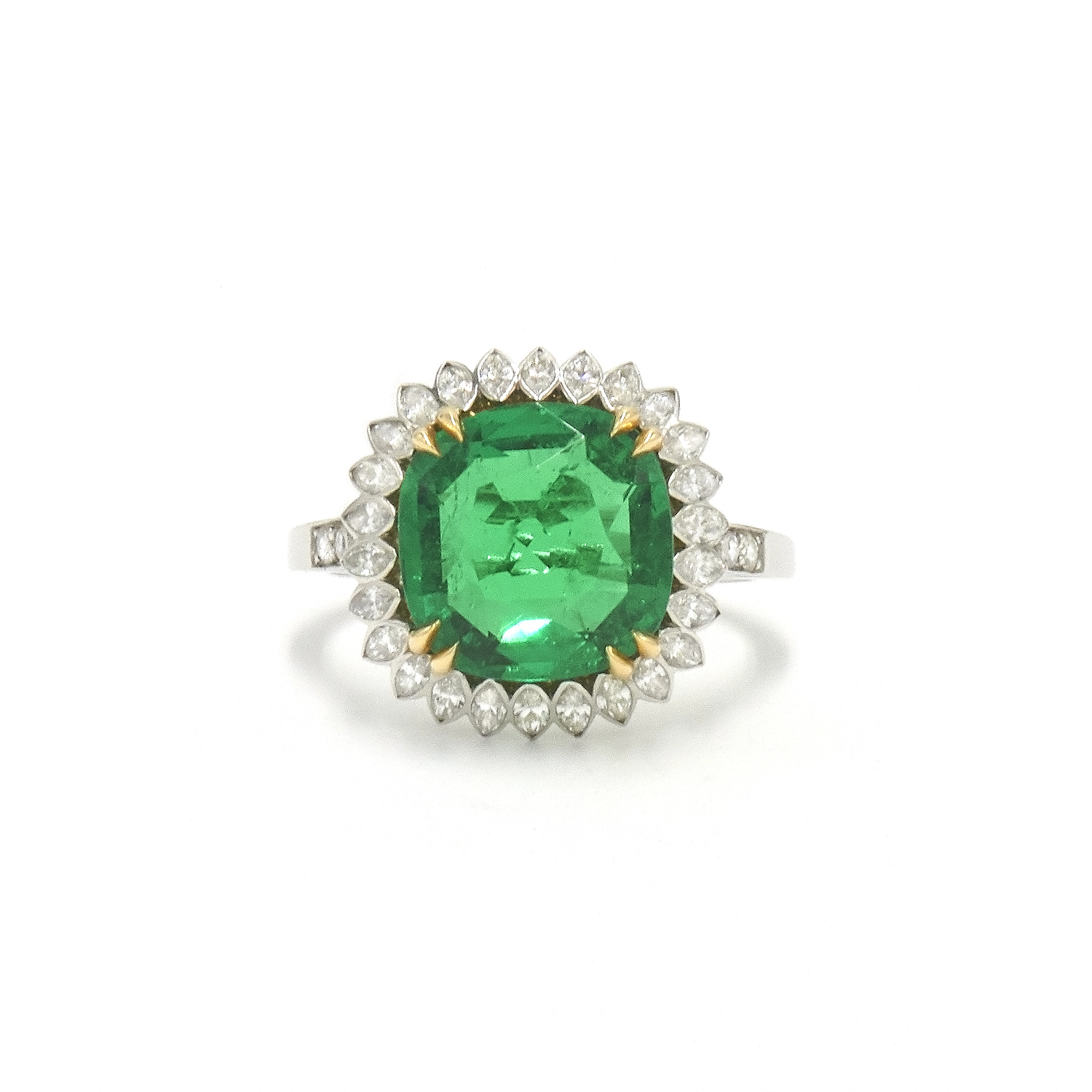 3.92ct Cushion Colombian Emerald and Diamond Ring Style F-38104-FL-0-0