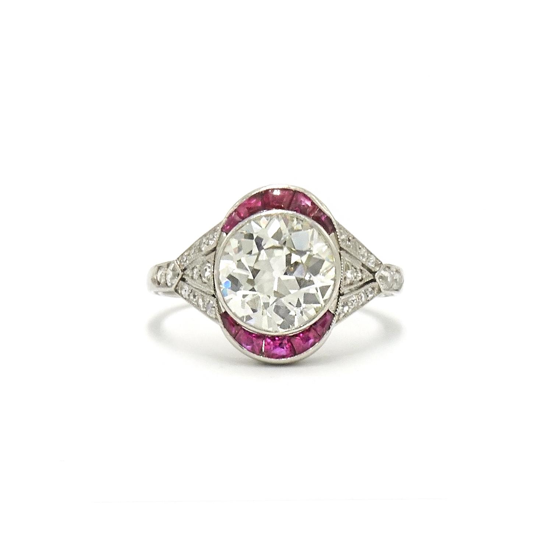 Art Deco Old European Cut Diamond and Ruby Ring Style F-38510-FL-0-0