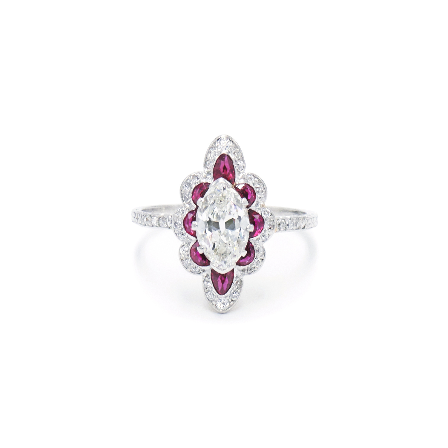 Edwardian Marquise Diamond and Ruby Scalloped Navette Ring Style F-40109-FL-0-0