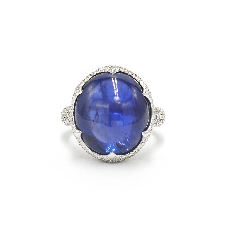 17.57ct Cabochon Ceylon Star Sapphire and Diamond Ring Style F-40387-FL-0-0