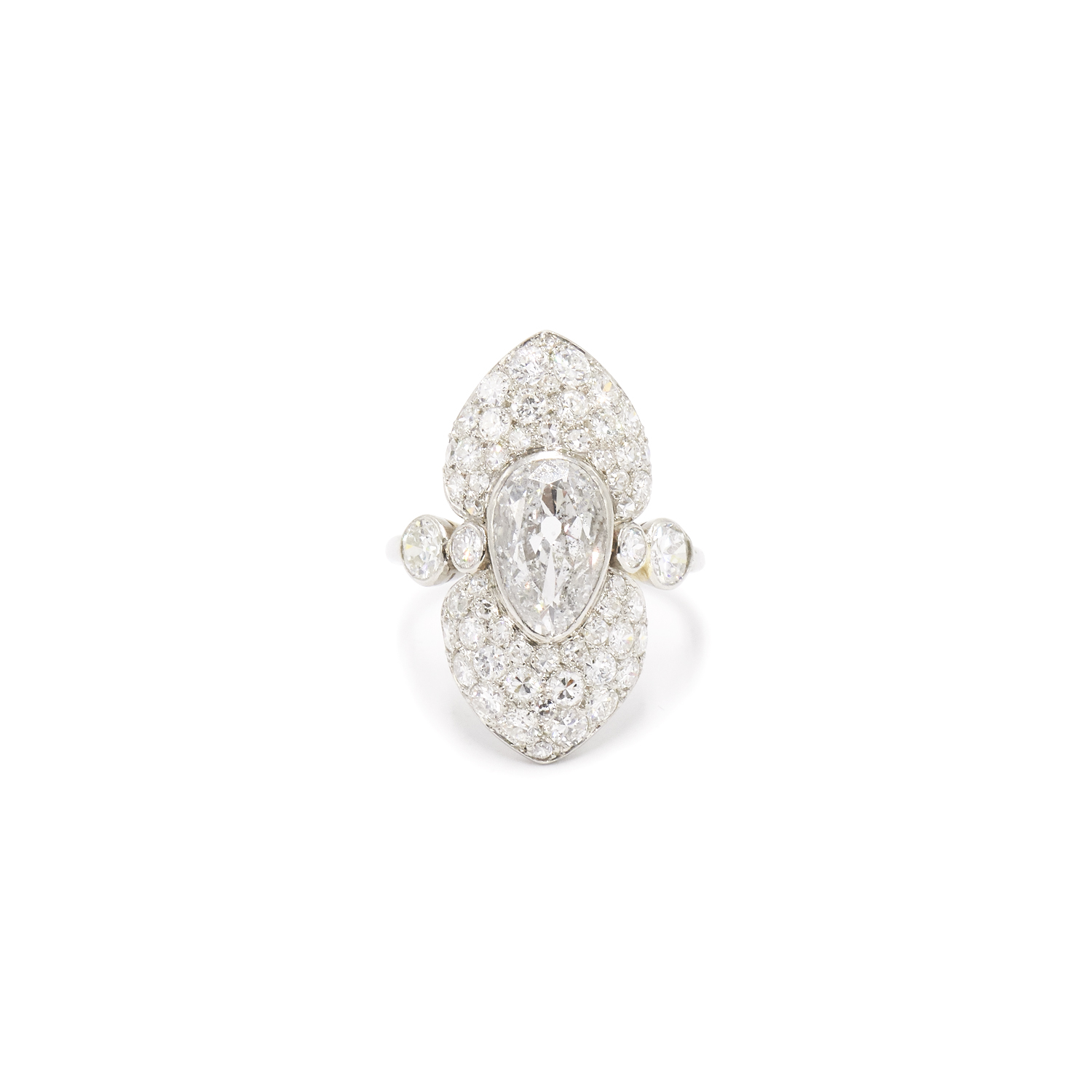 Art Deco Antique Pear Shape Diamond Ring by Cartier Style F-40424-FL-0-0