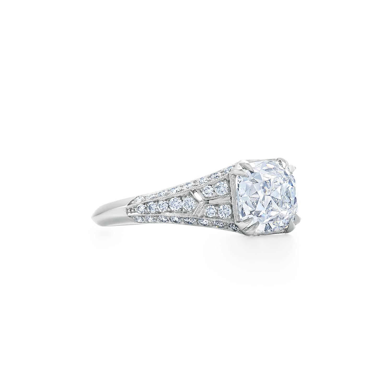 Old Mine Cushion Diamond Ring Signed Fred Leighton Style F1014-DIA