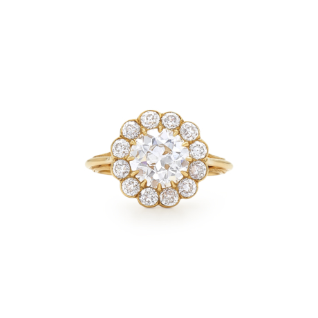 Signed Fred Leighton Old European Cut Diamond Cluster Ring F1015-DIA