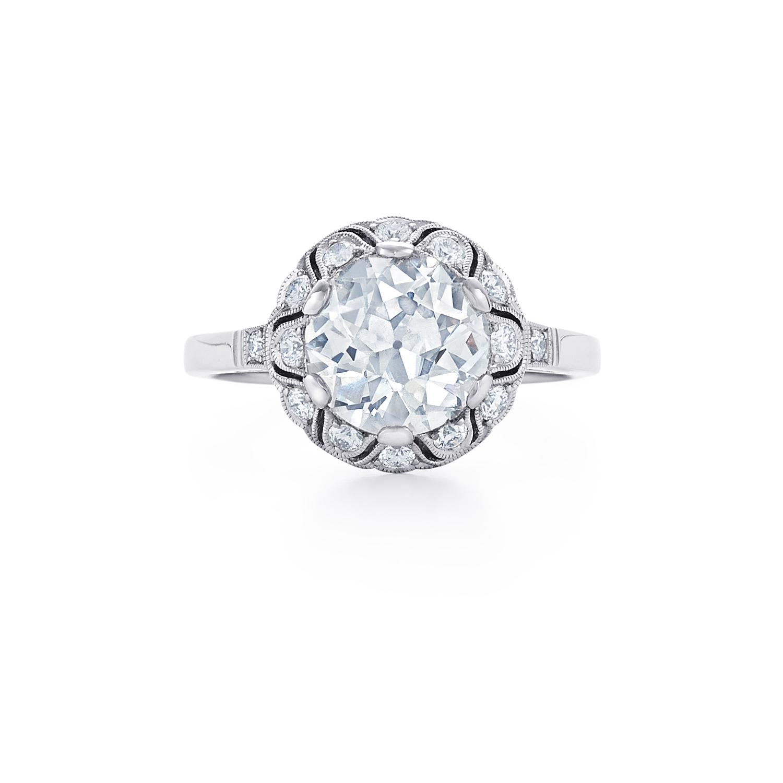 Old European Cut Diamond Ring Signed Fred Leighton Style F-1020FL-0-DIA-PLAT