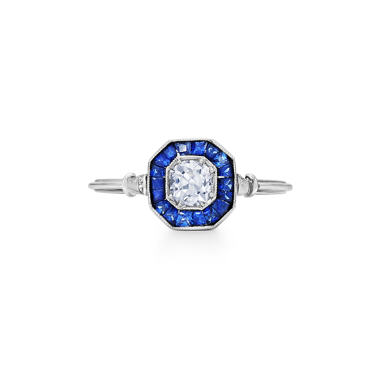 Old European Diamond and Sapphire Octagonal Ring Signed Fred Leighton Style F-1028FL-0-DIASAPP-PLAT