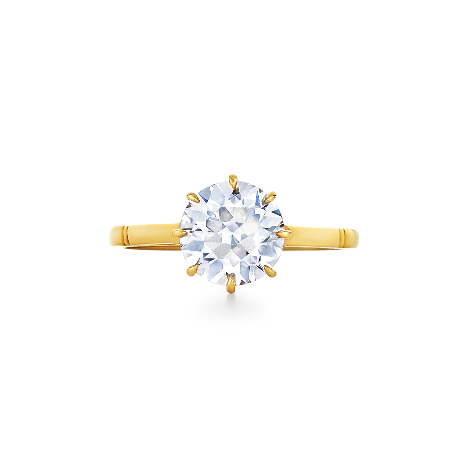 Old European Cut Diamond Solitaire Ring Signed Fred Leighton Style F-1032FL-0-DIA-18KY