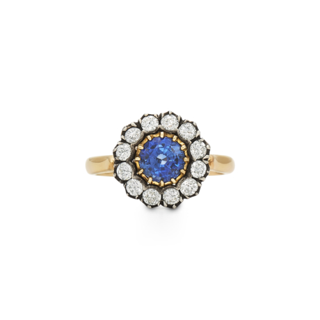 Signed Fred Leighton Sapphire and Diamond Cluster Ring F1033-SAPPDIA