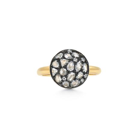 Signed Fred Leighton Pavé Rose Cut Diamond Bombe Ring F1038-DIA