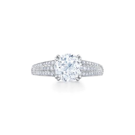 Old European Cut Diamond Triple Ridge Ring Signed Fred Leighton Style F1041-DIA