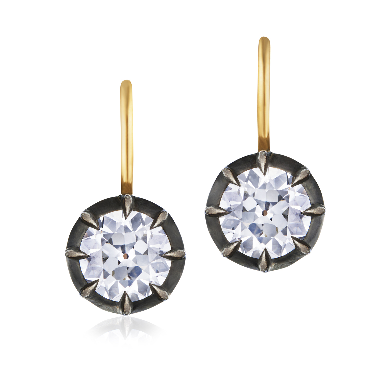 Fred Leighton Round Diamond Collet Drop Earrings Style E-1096FL-0-DIAOE-SVGO