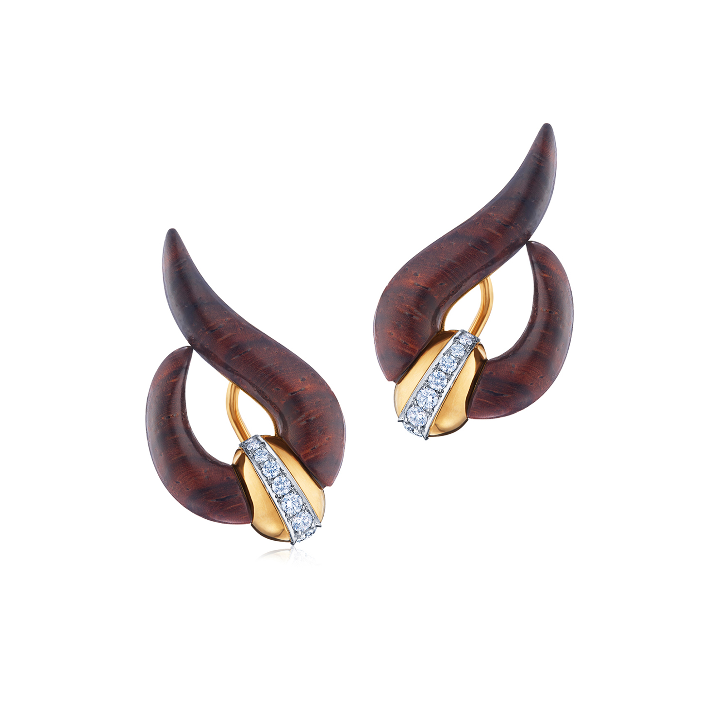 18K Yellow Gold Cocobolo Wood and Diamond Wave Earrings Signed Fred Leighton, Style E-40420-FL-0-0