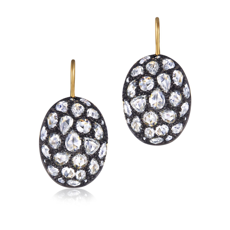 Signed Fred Leighton Pavv© Rose Cut Diamond Drop Earrings E-1083FL-0-DIA-SVGO