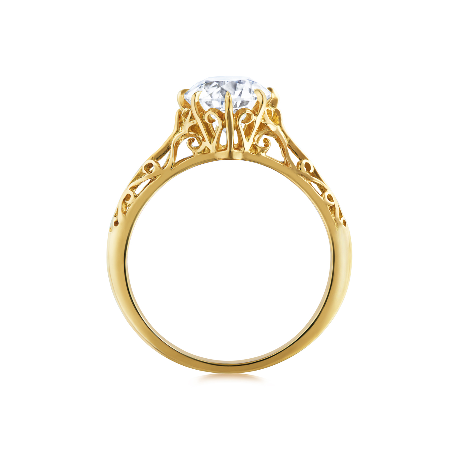 Fred Leighton Round 18K Yellow Gold Filigree Ring Signed Fred Leighton Style F1011-DIAOEYG