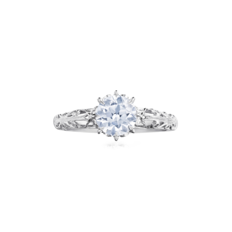Fred Leighton Round Diamond Platinum Filigree Ring Signed Fred Leighton Style F1011-DIAOEPT