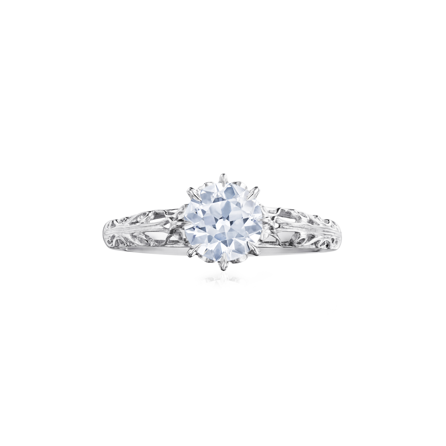 Fred Leighton Round Diamond Platinum Filigree Ring Signed Fred Leighton Style F-1011FL-0-DIA-PLAT
