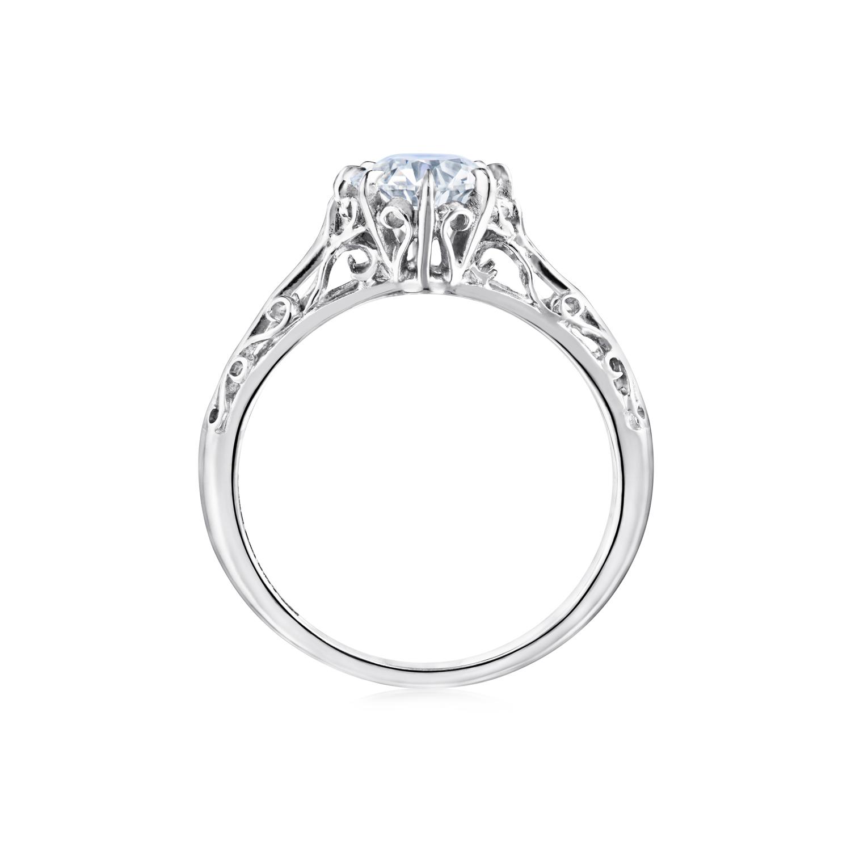 Fred Leighton Round Diamond Platinum Filigree Ring Signed Fred Leighton Style F1011-DIAOEPT