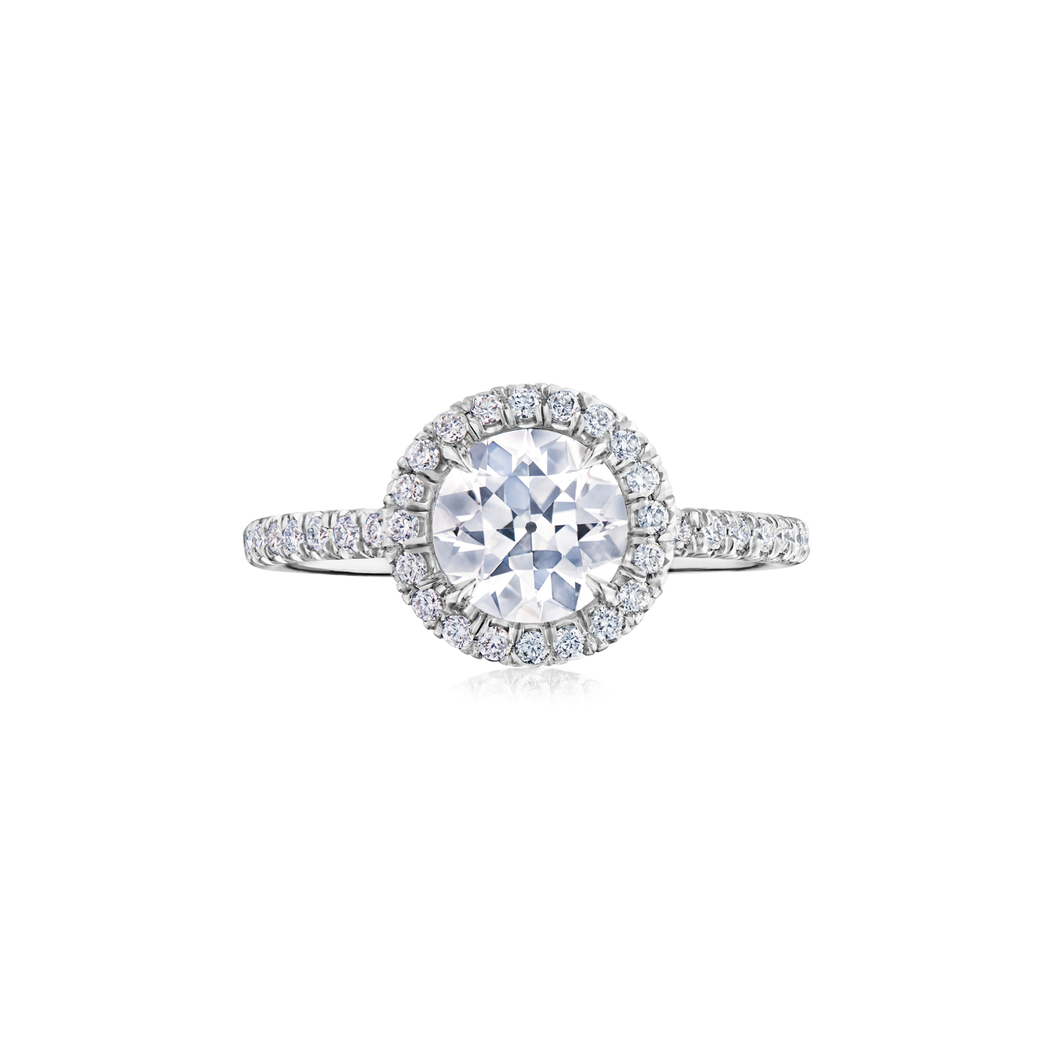 Platinum Round Rose Cut Diamond Ring, Signed Fred Leighton, Style F-1019FL-0-DIA-PLAT