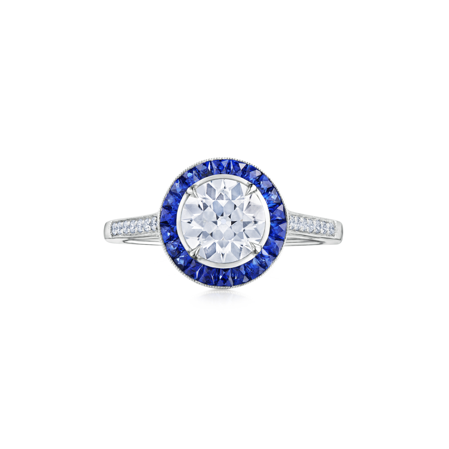 Fred Leighton Round Diamond and Sapphire Halo Ring Signed Fred Leighton Style F-1055FL-0-DIA-PLAT