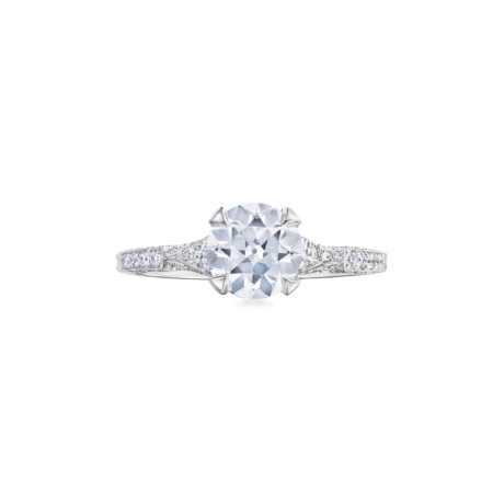Fred Leighton Round Diamond Platinum Ring Signed Fred Leighton  Style F1056-DIA