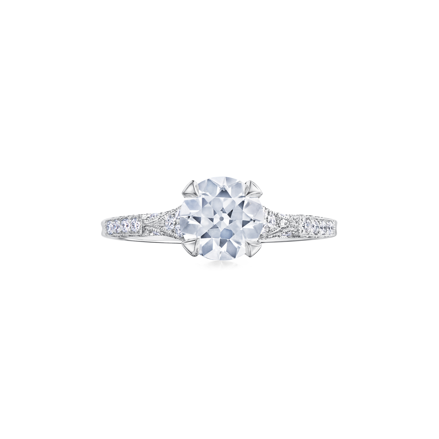 Fred Leighton Round Diamond Platinum Ring Signed Fred Leighton Style F-1056FL-0-DIA-PLAT