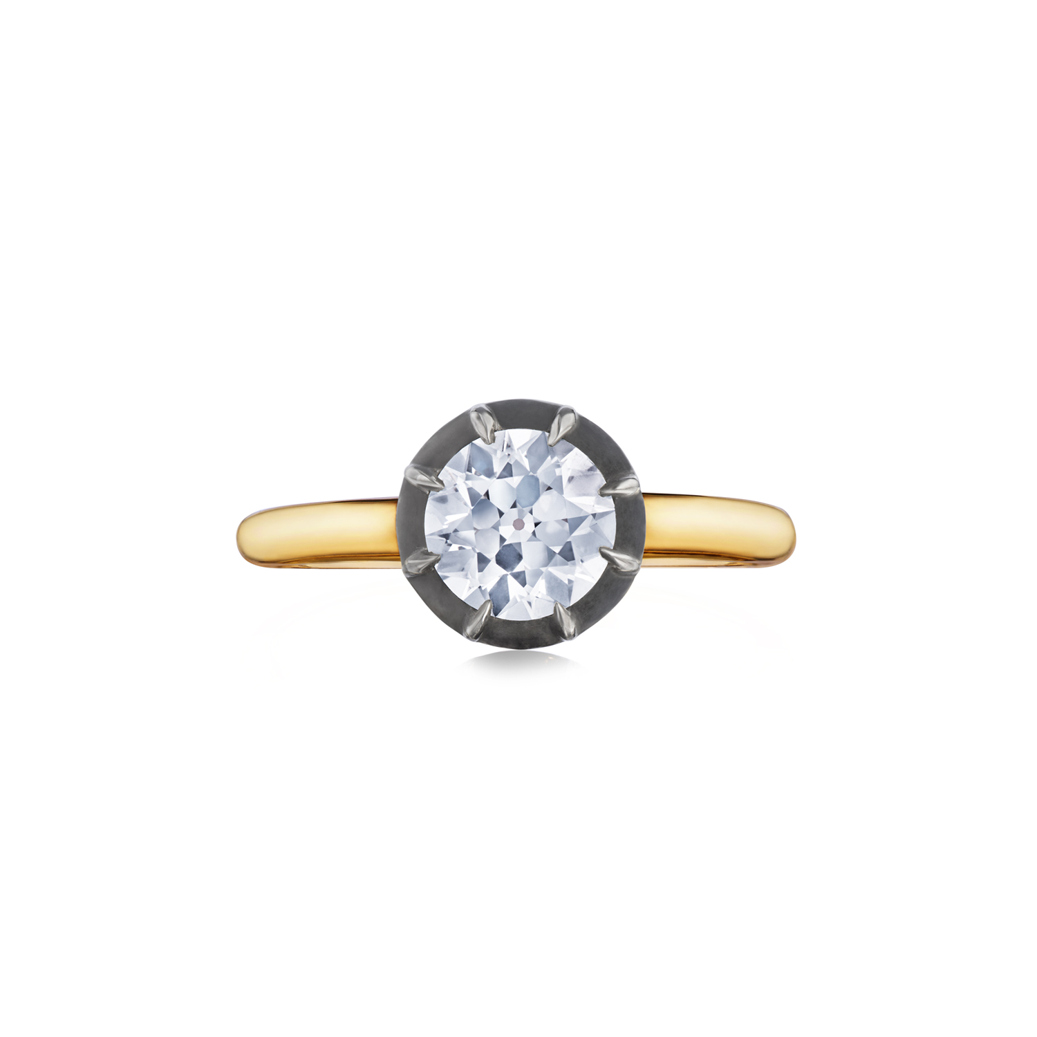 Fred Leighton Round Diamond Silver Topped Yellow Gold Collet Ring Signed Fred Leighton Style F1057-DIAOE