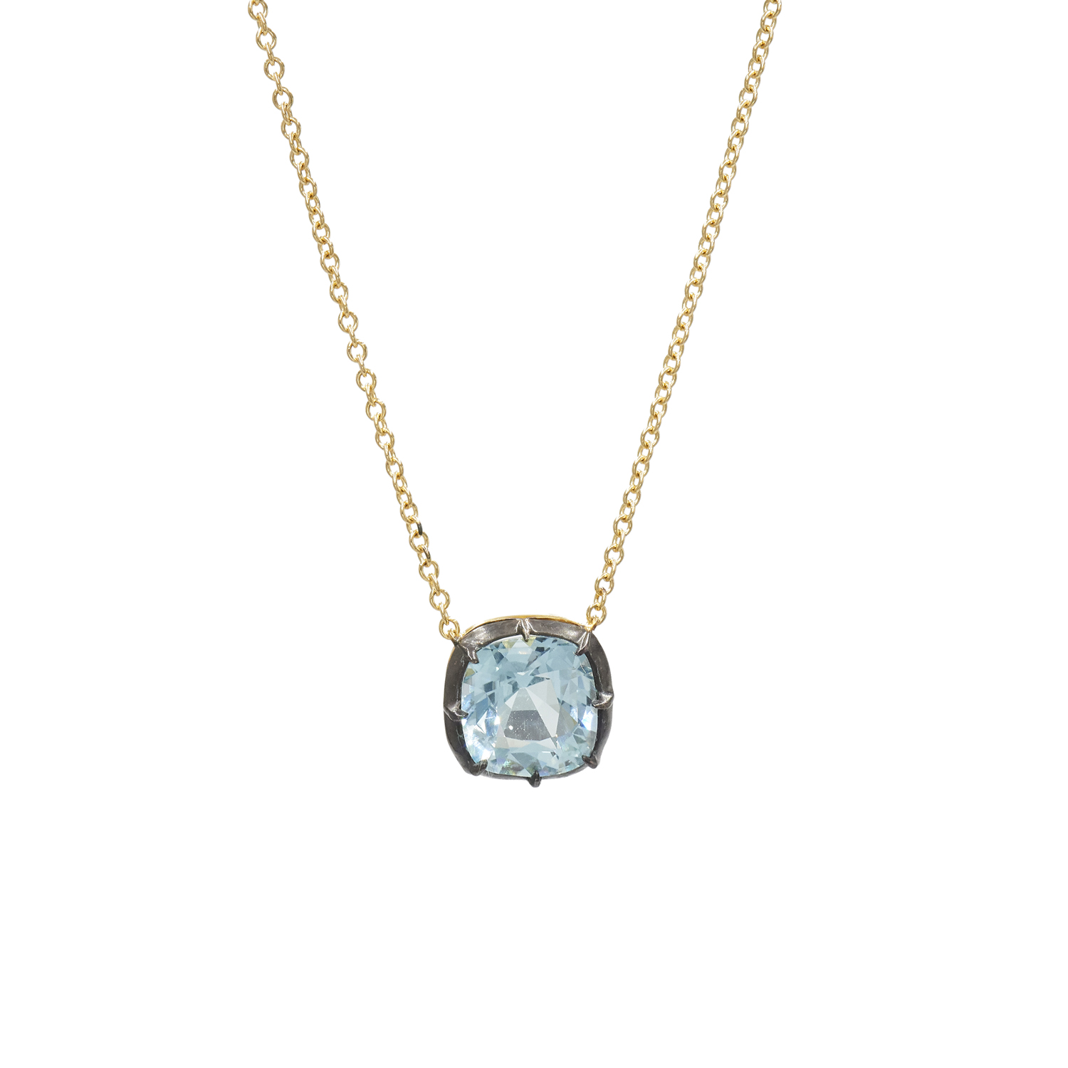 Signed Fred Leighton Cushion Blue Topaz Collet Solitaire Pendant Necklace Style N-1049FL-0-BTOP-SVGO