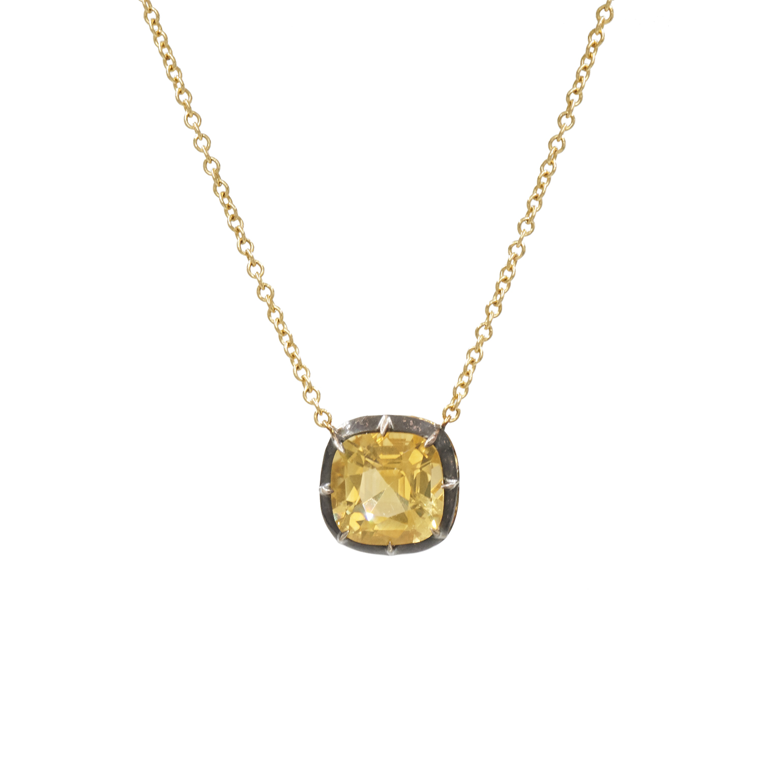 Signed Fred Leighton Cushion Citrine Collet Solitaire Pendant Necklace Style N-1049FL-0-CIT-SVGO