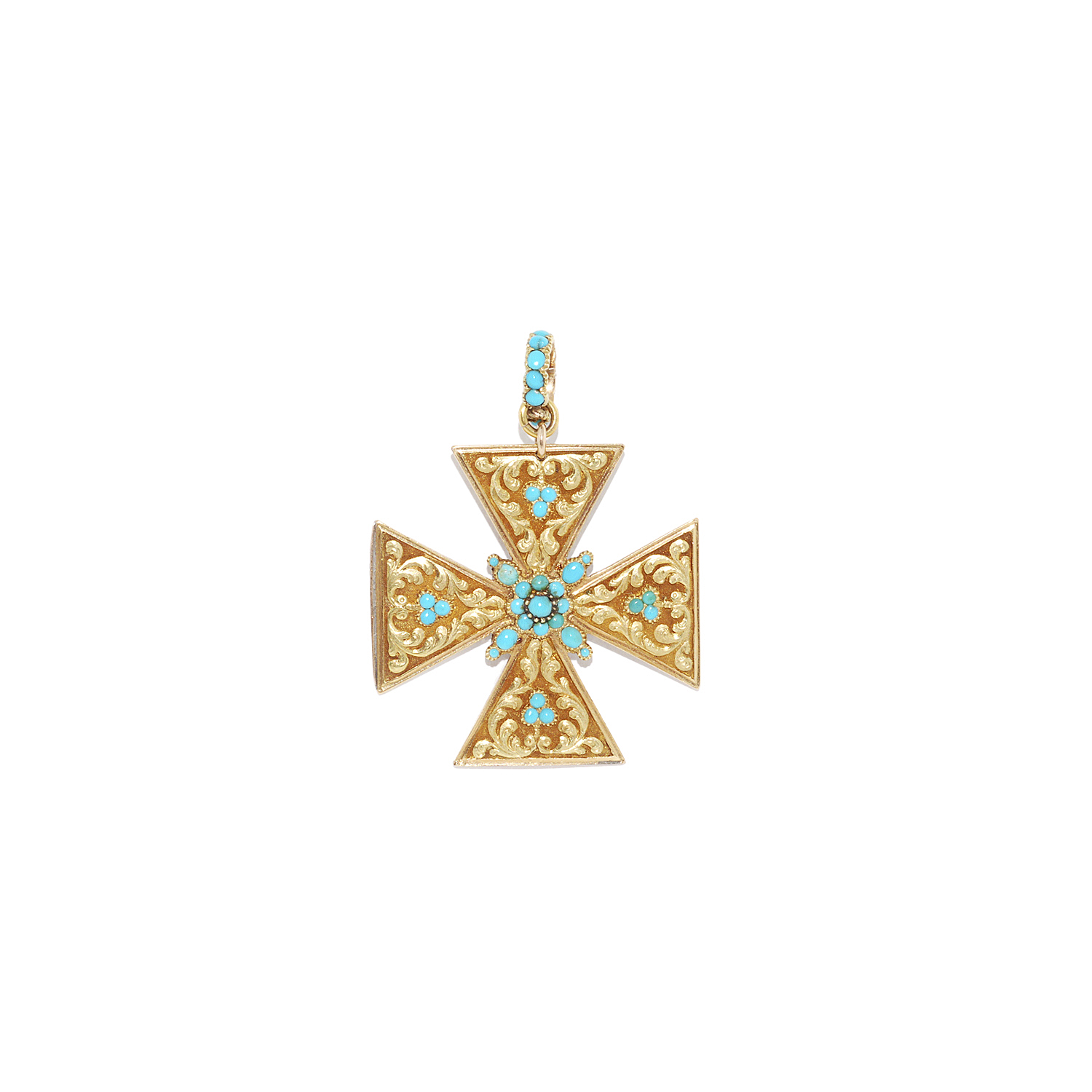 Antique 18K Yellow Gold and Turquoise Engraved Maltese Cross Pendant Style N-27601-FL-0-0