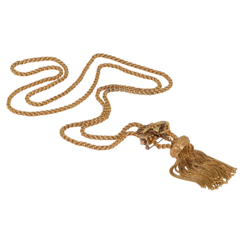 Victorian 14K Yellow Gold Tassel Slide Necklace, Serial FL32908