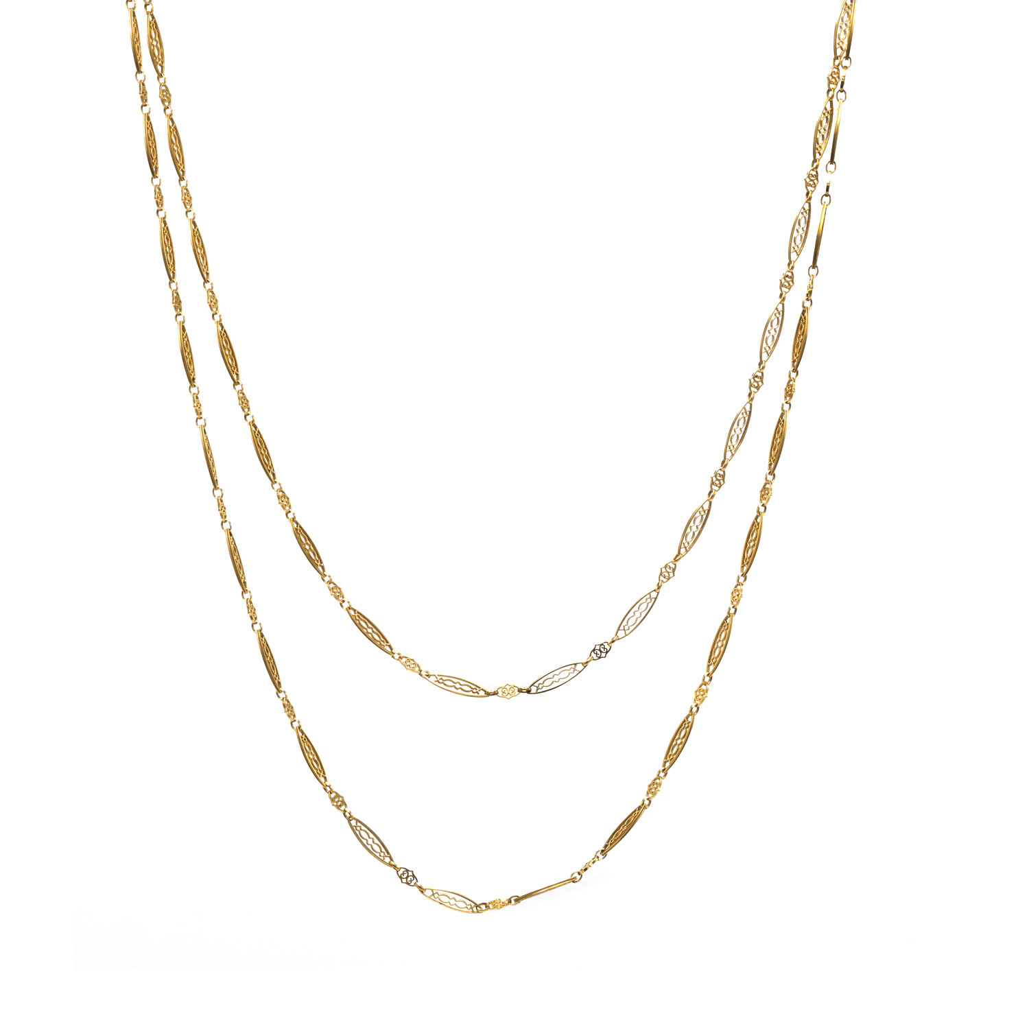 Antique French 18K Yellow Gold Filigree Chain Style N-34801-FL-0-0