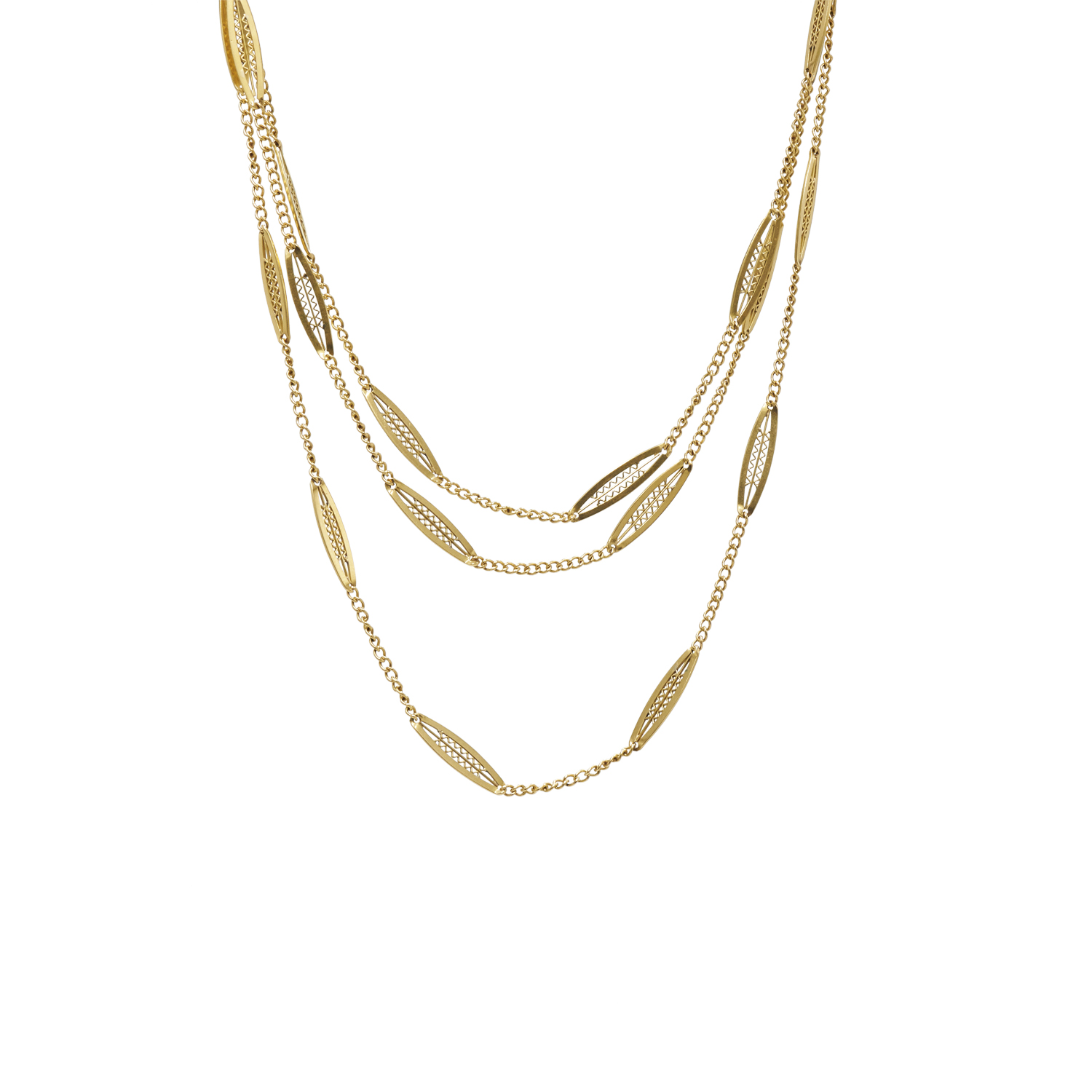 Antique 18K Yellow Gold Fancy Link Long Chain Style N-36613-FL-0-0