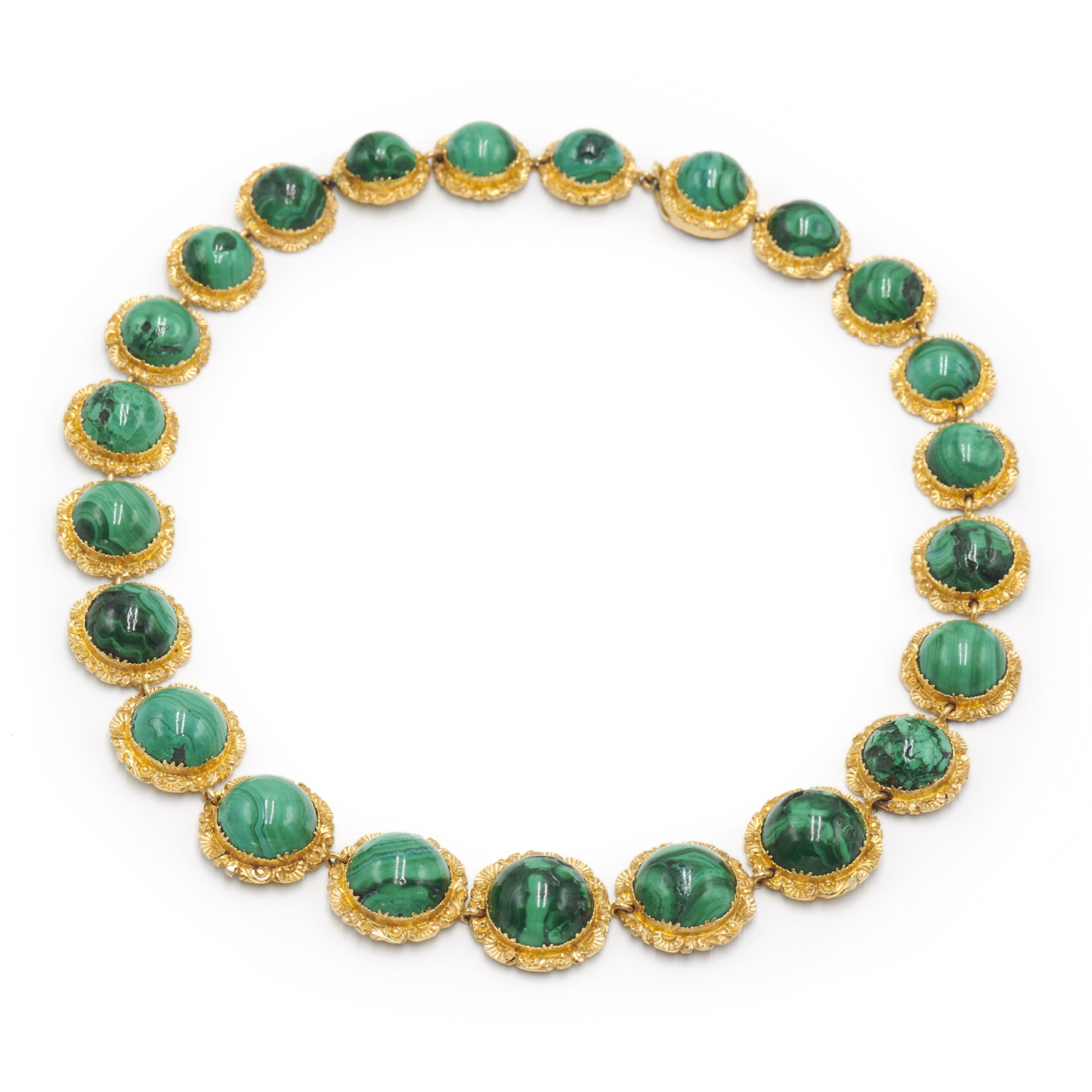 Antique Yellow Gold Cabochon Malachite Riviere Necklace, Serial FL38442