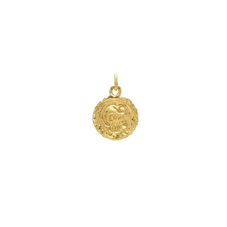 22K Yellow Gold Scorpio Zodiac Pendant by Jean Mahie, Serial FL40161
