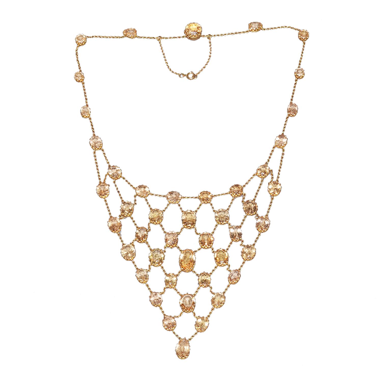 Antique Golden Topaz Bib Necklace by Mrs. Newman Style N-40363-FL-0-0