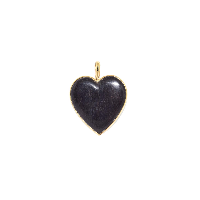 Ebony and 18K Yellow Gold Heart Pendant by Antonia Miletto, Serial FL40728