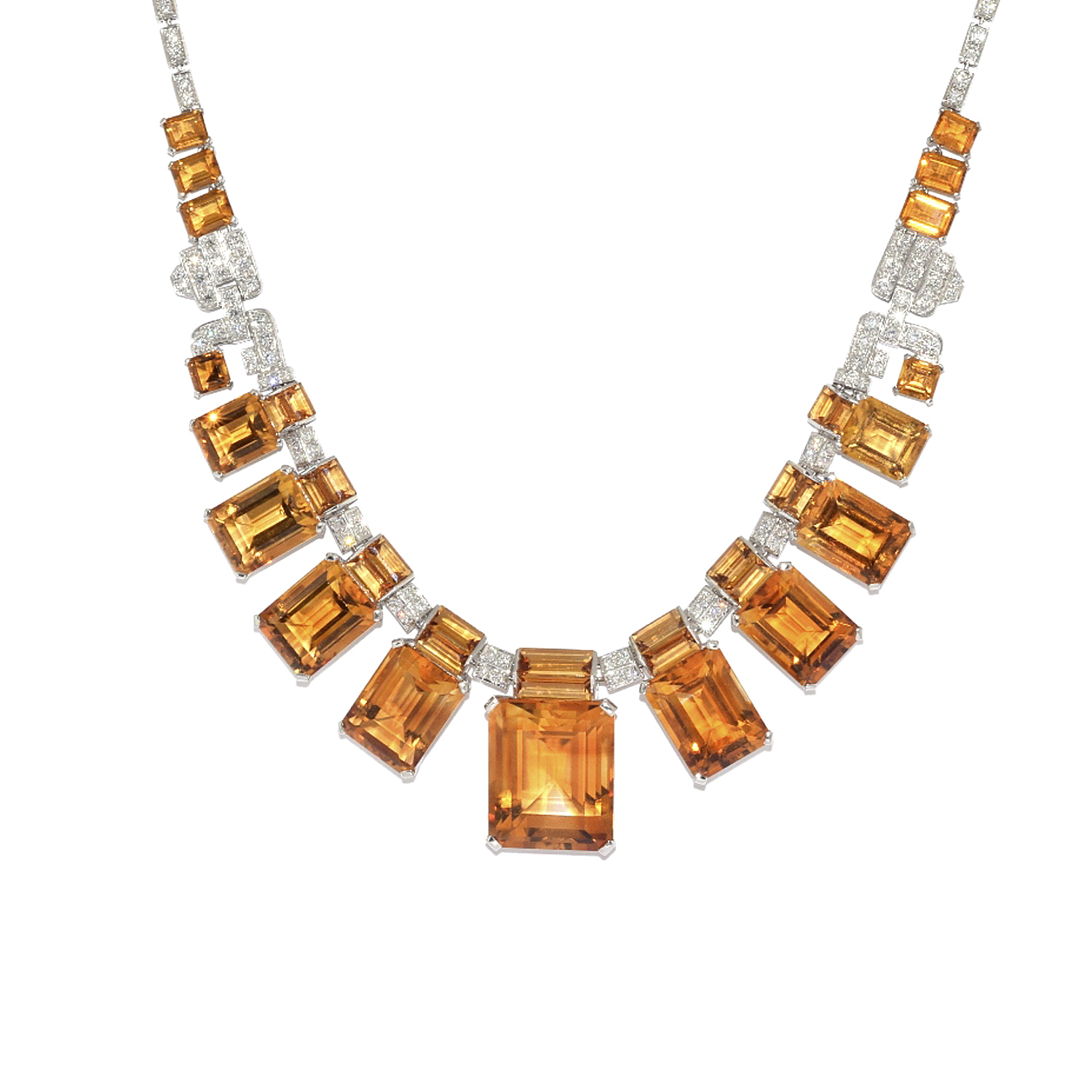Emerald Cut Citrine and Diamond Fringe Necklace Style N-40802-FL-0-0