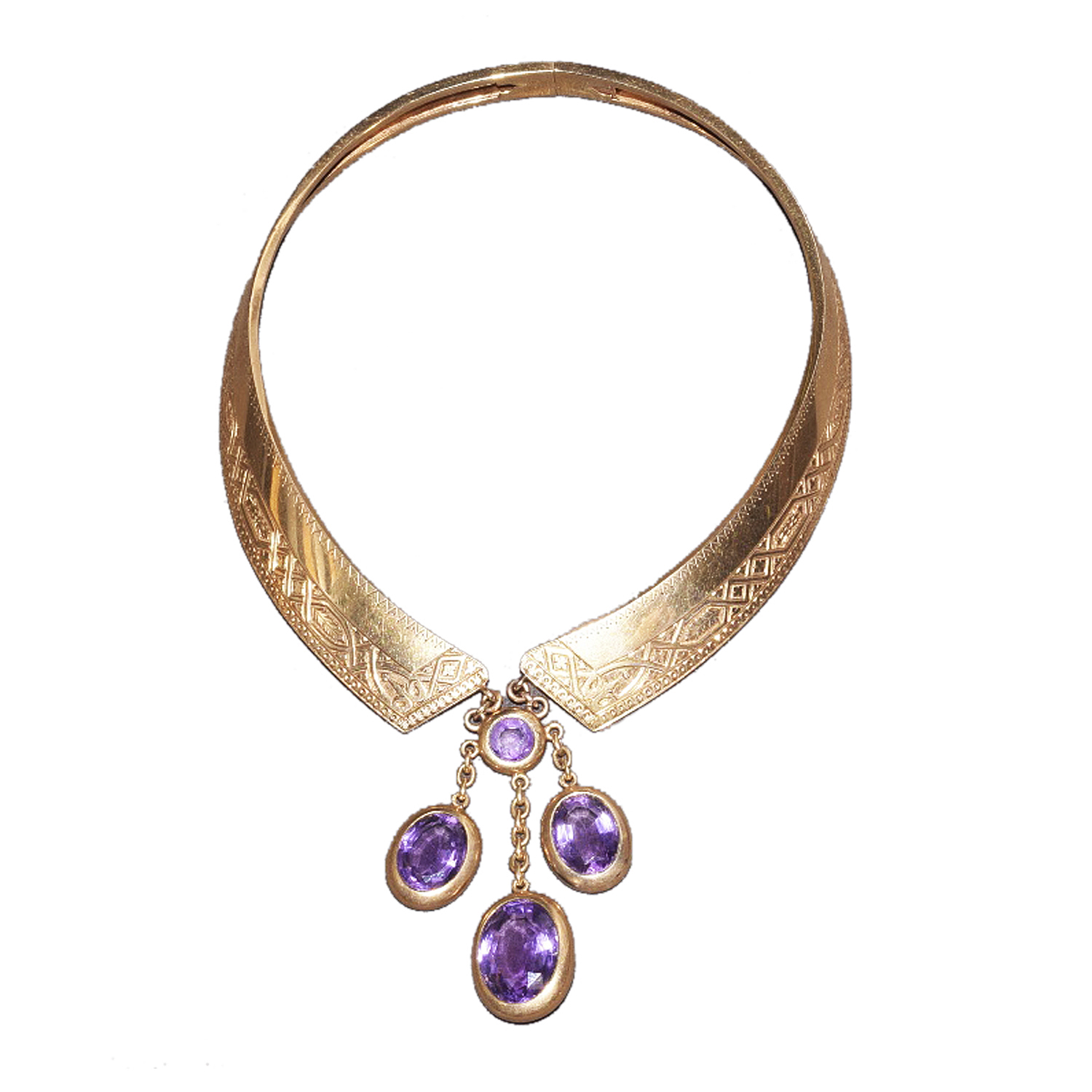 Antique 18K Yellow Gold and Amethyst Collar Necklace Style N-40816-FL-0-0