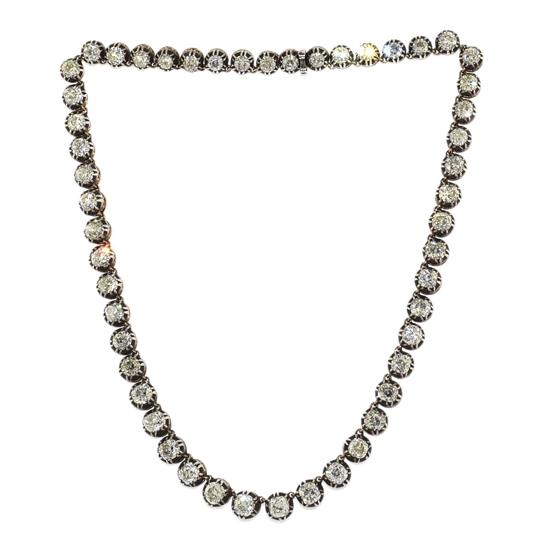 Antique Old Mine Diamond Rivière Necklace Style N-40876-FL-0-0