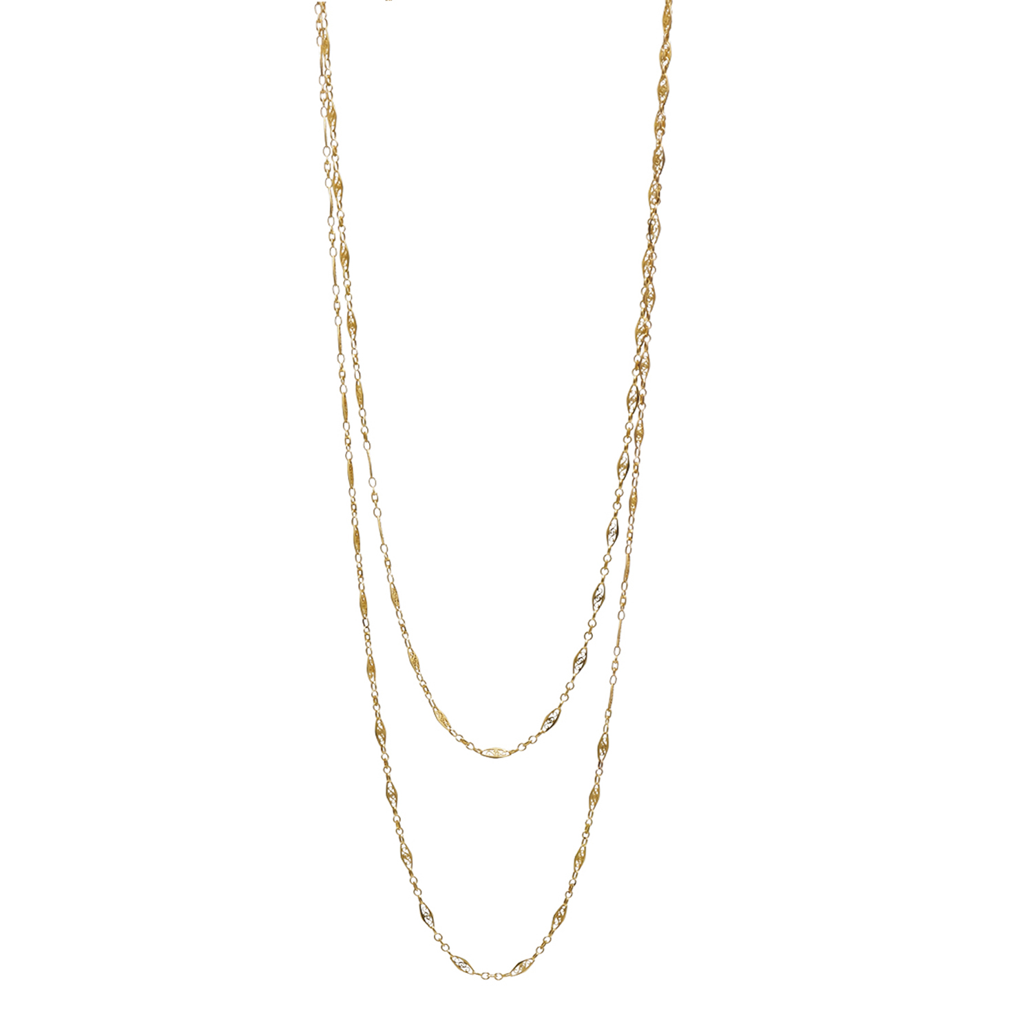 Antique 18K Yellow Gold Filigree Link Long Chain Style N-40882-FL-0-0