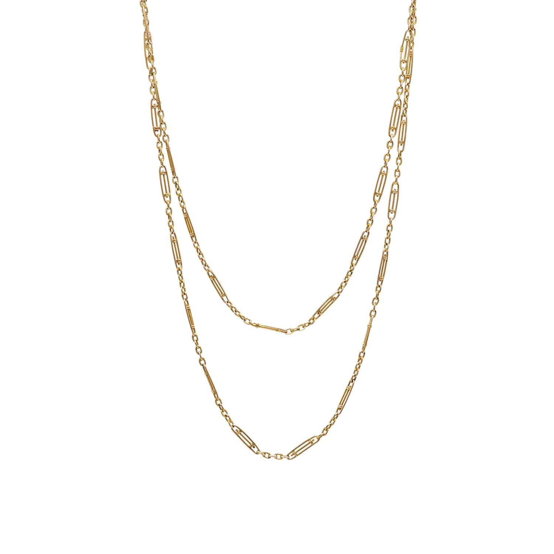Antique 9K Yellow Gold Fancy Link Long Chain Style N-40884-FL-0-0