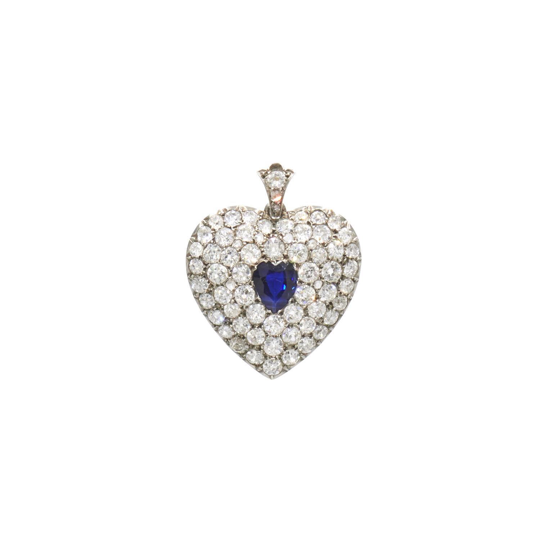 Antique Sapphire and Diamond Pavé Heart Locket Style N-41024-FL-0-0