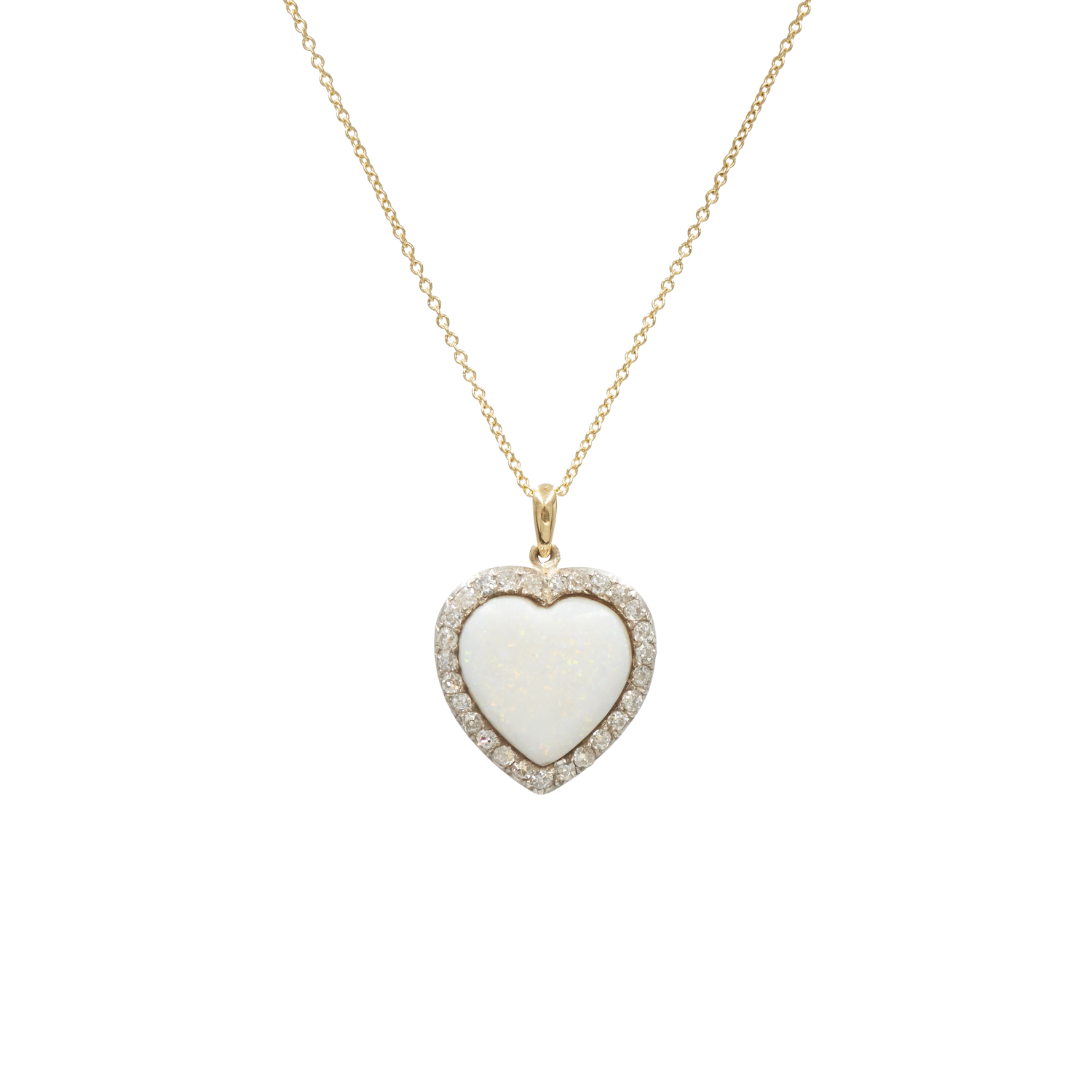 Antique Opal and Diamond Heart Pendant Style N-41026-FL-0-0