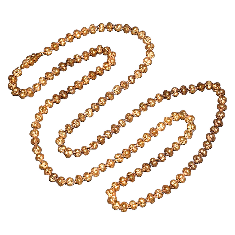 Georgian 18K Yellow Gold Repoussé Floret Bead Chain, Serial FL41090