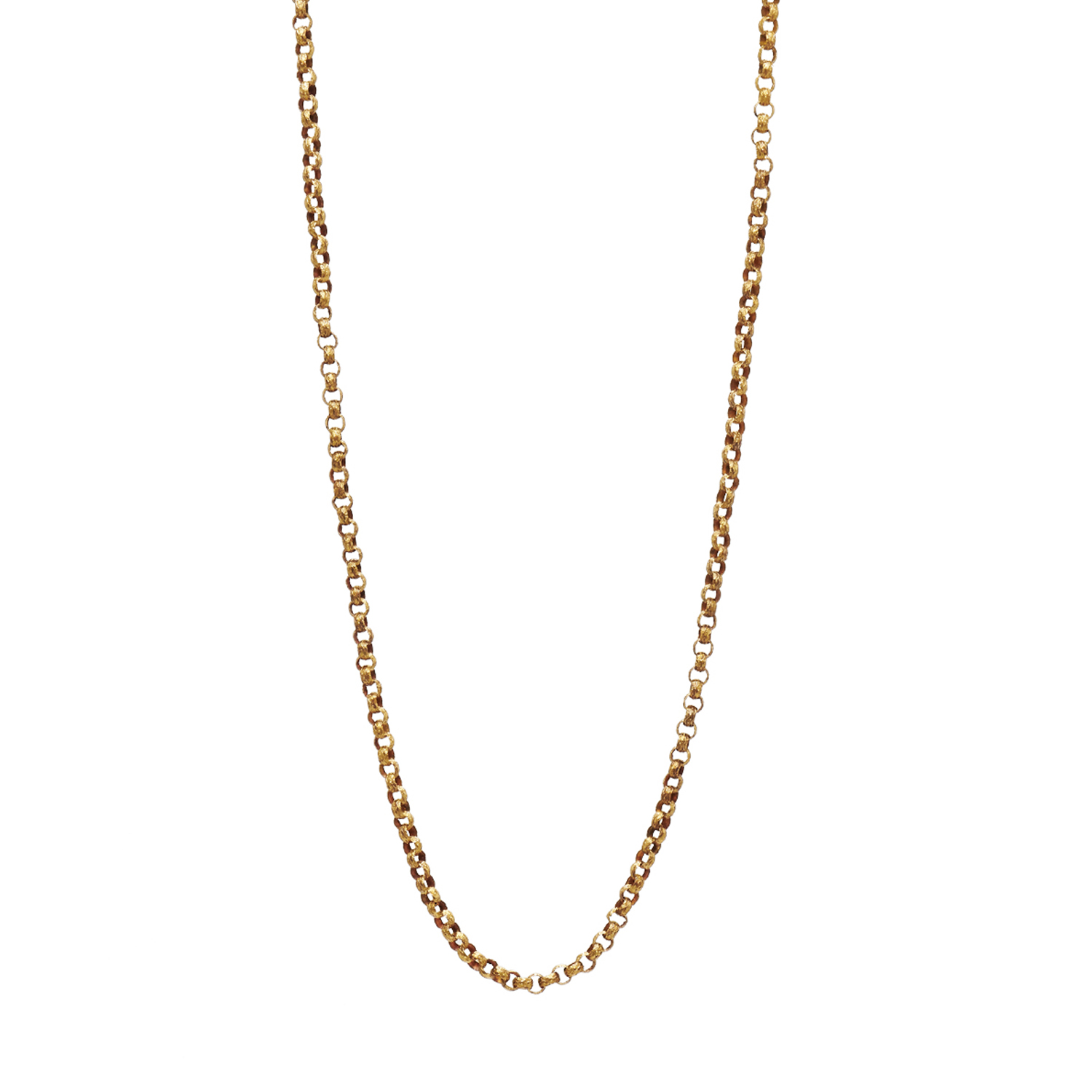 Georgian 18K Yellow Gold Embossed Link Necklace Style N-41223-FL-0-0