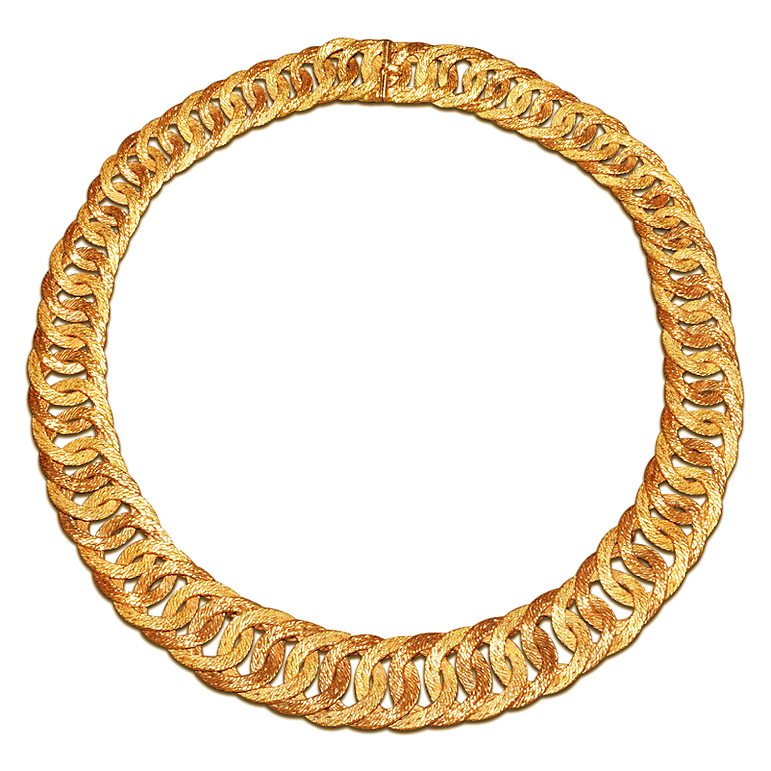 18K Yellow Gold Textured Cable Link Necklace by Georges L'Enfant for Hermès, Serial FL41570