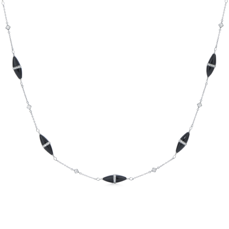 Signed Fred Leighton Black Jade and Diamond Rondelle Necklace N1016-BLJA