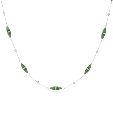 Signed Fred Leighton Green Nephrite and Diamond Rondelle Necklace N1016-GRNE