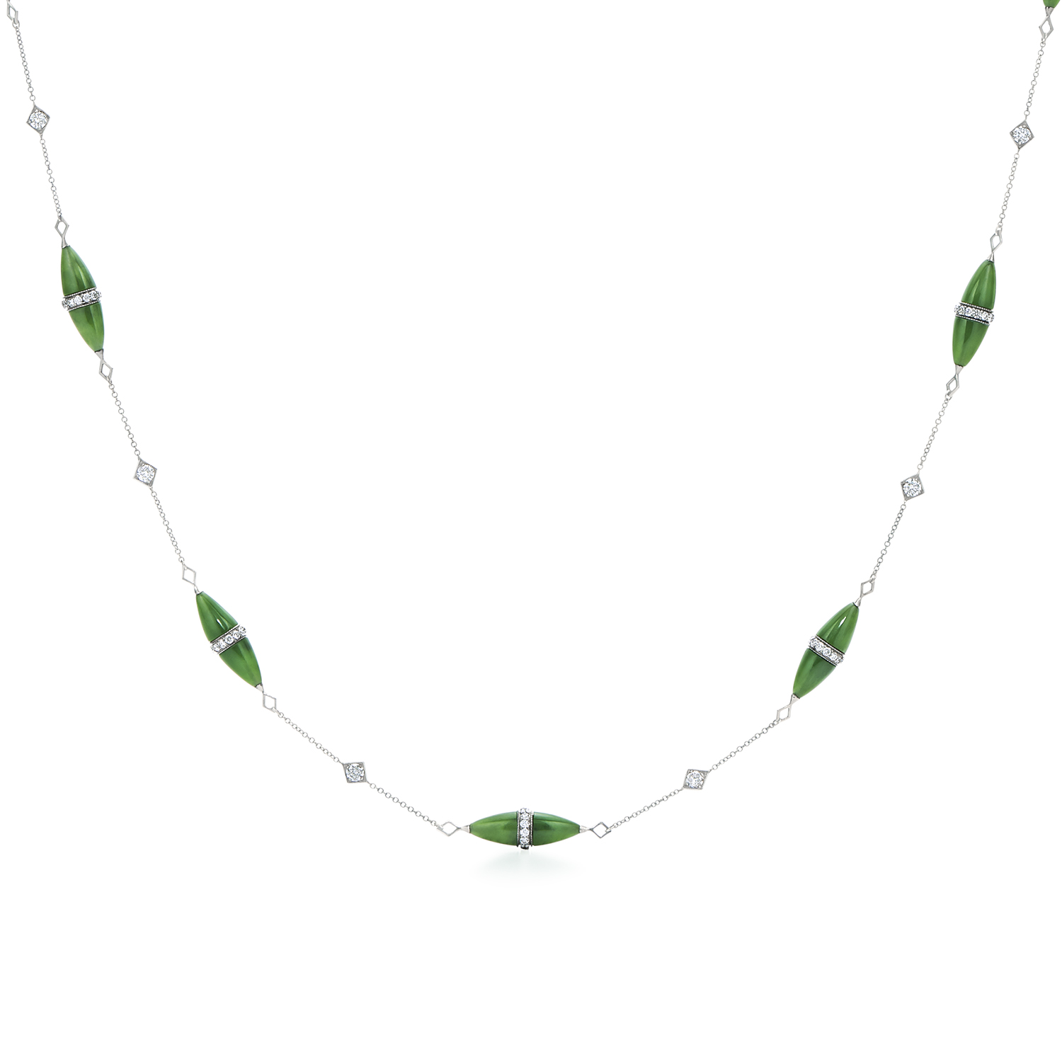 Signed Fred Leighton Green Nephrite and Diamond Rondelle Necklace N-1016FL-0-GRNE-18KW
