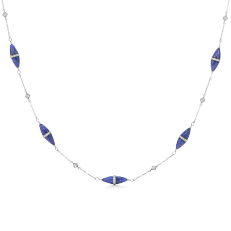 Signed Fred Leighton Lapis and Diamond Rondelle Necklace N1016-LAP