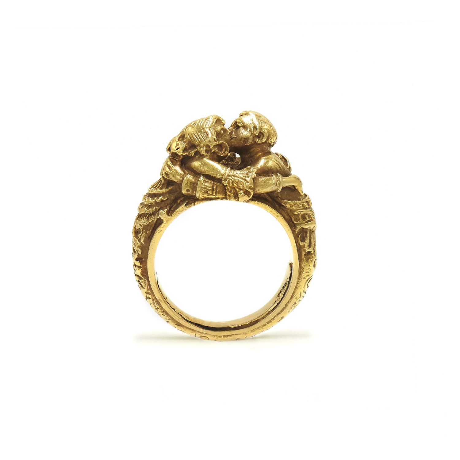 Antique 18K Yellow Gold Chased Lovers Embrace Ring Style R-24185-FL-0-0